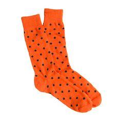 Preppy orange medium-dot cotton socks by J. Crew