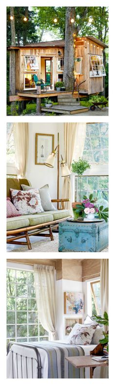 This treehouse only gets more charming inside. Heres how Emily and Sloane transformed a standard kids hideaway into a decidedly sophisticated room with a view. Outdoor Spaces, Outdoor Living, Country Living Magazine, Backyard Retreat, Cabins And Cottages, Tiny Living, Play Houses, Decoration, House Tours