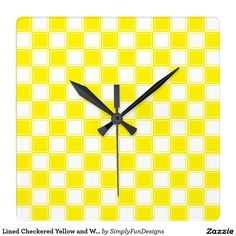 Lined Checkered Yellow and White Square Wall Clock