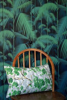 Love the bold print pattern clash! Upcycled Vintage Kimono Silk Fabric lumbar cushion / pillow. Green. Blossom. Fresh. Palm leaves.