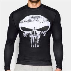 Hot Punisher Superhero Superman/Batman Men Long Sleeve T Shirt G ym Compression Tights Tops Fitness T-shirt