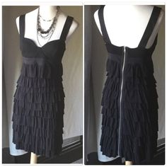 Bailey 44 black tiered dress Bailey 44 black tiered dress. Extremely soft and comfortable to make going out and looking good feel even better. Exposed silver full length back zipper. Dress has lots of stretch and is in wonderful condition. Would fit size 4-8 best Bailey 44 Dresses