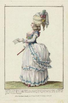 """""""Jeune Dame en Circassienne de gaze d'Italie avec une juppe faite de la même gaze; le falbalat est orné d'un ruban de couleur; elle est coëffée d'un pouf au fichu garni de perles avec une plume sur le côté gauche, à la mode Asiatique"""", Gallerie des Modes, 1778; MFA 44.1347"""