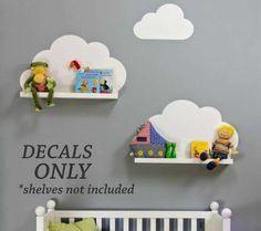 Cloud Shelf Decals   Nursery Wall Decals   Vinyl Wall Art