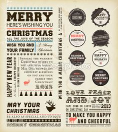 Christmas typography decoration collection  Set of calligraphic and typographic elements, frames, vintage labels and borders. Floral ornamen...