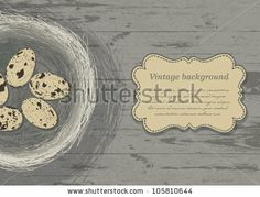 Nest with eggs on wooden texture. Vector, EPS 10 - stock vector