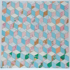 """16"""" X 16"""" X 1½"""" Necker Cube Map Collage on wood panel"""