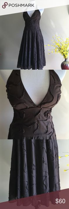 Arden B Halter Dress Beautiful Arden B halter dress in brown. Size medium. Gorgeous stitching detailing on fabric! Top is tied at the back of the neck with a strong ribbon. Worn twice and recently dry cleaned. ❤️ Arden B Dresses Strapless