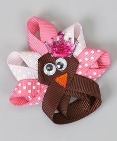 Take a look at this Pink Turkey Princess Clip by Hair Flair on #zulily today!