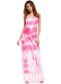 Boho Sleeveless Tie Dye Print Maxi Dress