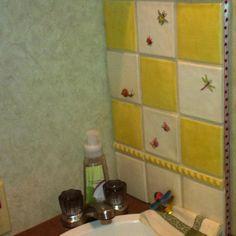 Tiny bathroom backsplash~Winchester tiles
