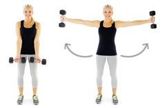 Side Fly Extension- Stand with feet a little wider than shoulder width apart, a dumbbell in each hand, and arms hanging in the center of the body with palms facing forward. In a controlled motion, without bending the arms, swing the arms out to the sides until they are even with the shoulders. Pause for a second and then return the arms back to center.
