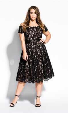 City Chic Lace Dreams Dress in Black Size Plus Size Black Dresses, Plus Size Cocktail Dresses, Wedding Dresses Plus Size, Trendy Dresses, Plus Size Outfits, Casual Dresses, Formal Dresses, Plus Size Lace Dress, Plus Size Spring Dresses