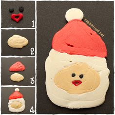 How adorable would these be on Christmas morning! How To Make Santa Pancakes