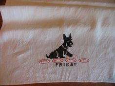 Vintage 1940s Embroidered Linen Towel Friday by chameleonCMC, $5.00