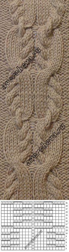 Узор 699 косы | каталог вязаных спицами узоров