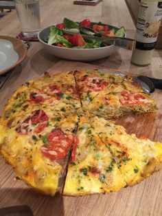 Chorizo, onion and potato tortilla with salad
