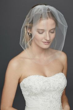 Tulle Birdcage Veil With Crystal Comb by David's Bridal