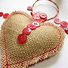 burlap ornaments to make | How to make a burlap and button heart ornament | Holiday ~ Valentine ...