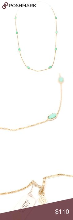Kendra Scott Kelsie Mint Green Necklace No offers please! FINAL PRICE! Gorgeous and new with tags necklace from Kendra Scott. This is the long kelsie necklace in mint green and gold. Super chic and in brand new condition. Kendra Scott Jewelry Necklaces