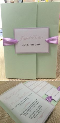 Mint Green and Lavender Pocket Wedding Invitations