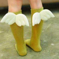 7b7d59491c3 kids socks Spring Autumn Cotton girls long Socks Angel Wing Soft Toddler  Knee High Socks for