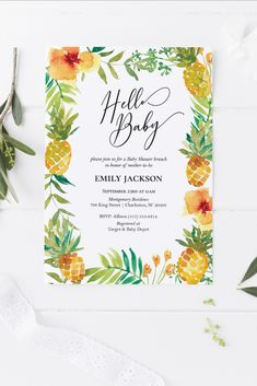 Pineapple Baby Shower Invitation   Editable Baby Shower or Gender Reveal Template   Luau or Tropical Theme   Summer   Instant Download   5x7 Gender Reveal Invitations, Baby Shower Invitations, Price Is Right Games, Note Fonts, Wishes For Baby, Reveal Parties, Summer Baby, Luau, Baby Showers