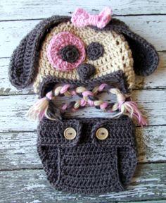 Little Miss cachorro Beanie en caramelo Topo y rosa bebé con