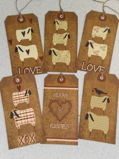 Sheep, Ewe, Hearts, Crows, Love Primitive Country Tags