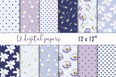 """Digital paper set """"Purple floral"""" by MyLittleMeow on @creativemarket"""