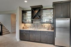 Basement Bar – The Meadows and Riley Creek – 2014 Model - transitional - Home Bar - Minneapolis - Gonyea Homes & Remodeling