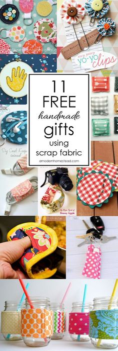 FREE handmade gifts you can make when you're broke! Amazing ideas these are all items you can make from fabric scraps! FREE handmade gifts you can make when you're broke! Amazing ideas these are all items you can make from fabric scraps! Scrap Fabric Projects, Easy Sewing Projects, Sewing Projects For Beginners, Fabric Scraps, Sewing Crafts, Craft Projects, Sewing Tips, Sewing Hacks, Sewing Tutorials