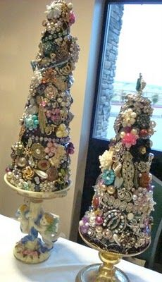 DIY Trees - Craft Cones Decorated With Old Broken Jewelry Pieces - Gorgeous!