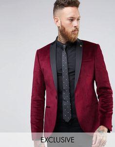 Noose & Monkey   Noose & Monkey Super Skinny Blazer In Velvet with Contrast Collar