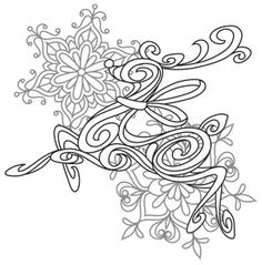 Craft a glamorous Christmas with this beautiful, swirling reindeer design! Downloads as a PDF. Use pattern transfer paper to trace design for hand-stitching.