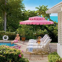 Island Style Essential This pool umbrella is so retro-chic. Not only is the pink color a beach club trademark, but its squared-off scalloped edge is a classic cabana detail. I WANT A PINK UMBRELLA Outdoor Rooms, Outdoor Gardens, Outdoor Living, Outdoor Decor, Outdoor Furniture, Furniture Sets, Poolside Furniture, Lawn Furniture, Pool Umbrellas