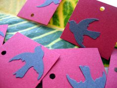 20 Square Bird Tags  Handmade Paper Tags by ThePaperWishingWell, $3.00