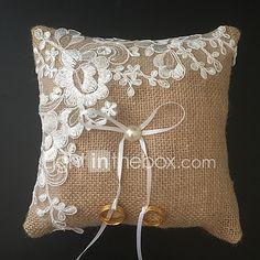 champagne 1 nastrino faux pearl ricamo lino cerimonia di nozze del 2018 a €5.25