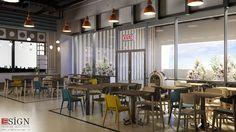 Amenajare bistro – design interior in stil industrial - Studio inSIGN Bistro Design, Conference Room, Industrial, Interior Design, Studio, Modern, Table, Furniture, Home Decor