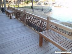 laurel railing with built-in bench seating