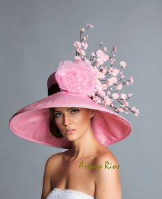Pink Brown derby hat Kentucky Derby Hat Couture Hat by ArturoRios