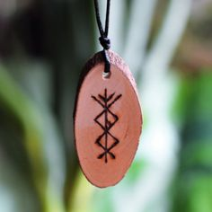 Viking Runes Protection Amulet for Success Prosperity Norse Pendant BindRunes Futhark Handmade Charm Talisman Wicca Pagan Pine Wood Rune Symbols, Viking Symbols, Viking Runes, Celtic Runes, Wicca, Anglo Saxon Runes, Vikings Time, Wood Burning Patterns, Asatru