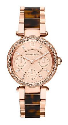 Michael Kors Ladies Parker Rose Gold Tone and Tortoise Chronograph Glitz Watch - on #sale 25% off @ #Lord&Taylor  #MichaelKors