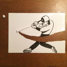 When Sketches interact physically. Funny Drawings, Art Drawings Sketches, Easy Drawings, 3d Paper Art, Paper Artwork, A4 Paper, Simple Artwork, Creative Artwork, 3d Illusion Drawing