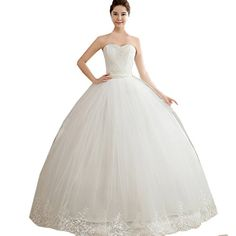 Partiss Womens Strapless Wedding Dress with BeadingsChinese XXLWhite *** You can find more details by visiting the image link.