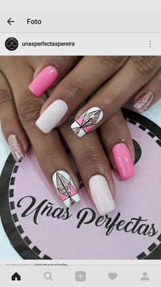 Galeria Perfect Nails, Gorgeous Nails, Pretty Nails, Fancy Nails, Love Nails, My Nails, Yellow Nails, Pink Nails, Diagonal Nails
