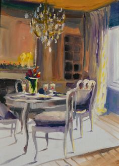 FRENCH DINING ROOM.  original painting by by CECILIAROSSLEE, $150.00
