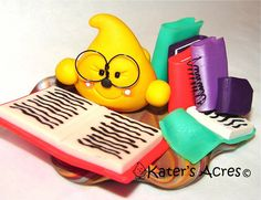 Library BOOK Reading PARKER Polymer Clay Character Figurine by KatersAcres