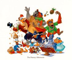 Disney Afternoons.  My early 90s after school lineup - Duck Tales, Tail Spin, Chip & Dale Rescue Rangers, Gummi Bears, & Darkwing Duck.