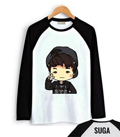 Fanstown BTS bangtan boy black shoulder member cartoon signature long sleeve shirt  Jimin  monster